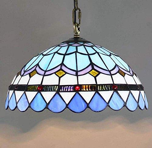 E27 Tiffany Mittelmeer Pendelleuchte Blau Retro Pastoral Hängeleuchte Bunt Glas Pendellampe Schlafzimmer Wohnzimmer Hängelampe Esszimmer Balkon Lampe flurTreppenhaus Decke Leuchte Φ30cm H:95cm -
