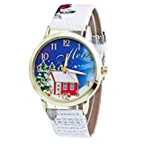 Uhren Damen Sale,Damen Uhren Fossil,WINWINTOM, analoge Quarz-Armbanduhr im Weihnachtsdesign, Lederarmband, Weiß