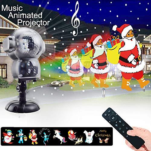 (Weihnachtsprojektor Lichter LED projektionslampe, Anime Schneeflocke Projektor Light mit Fernbedienung Timer und Musik Player halloween landschaft projektor für Outdoor Hochzeit Weihnachten)