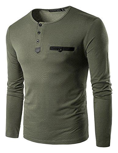 YCHENG Herren Klassisch Henley Langarm Shirt Oberteile Slim fit Frühling (Brusttasche Langarm-henley)