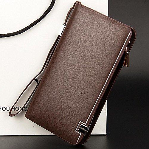 Ylen Geschäft Männer Lange Brieftasche mit Münzen Tasche Reißverschluss Lang Portmonee Kartenhalter Geldbörse Clutch Tasche Braun