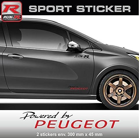 ADN-Auto 57412 Autocollants Pw02 Nr Sticker Powered By Peugeot pour 106 107 108 205 206 207 208 306 307 308 309 Rcz 2008 3008 5008
