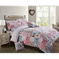 Velosso Shabby Chic Patchwork Stitch Reversible Duvet Cover Bedding Set Pink, Single