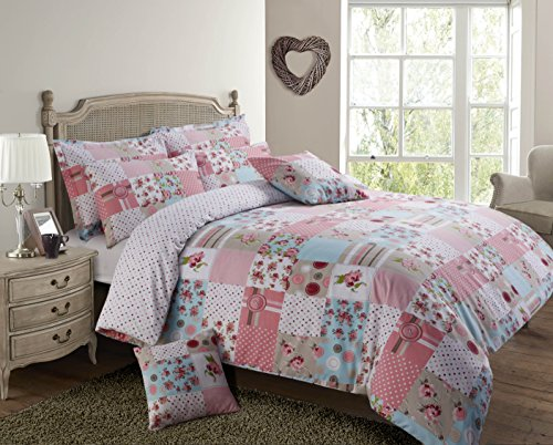 Velosso Shabby Chic Patchwork Stitch Reversible Duvet Cover Bedding Set Pink, Double