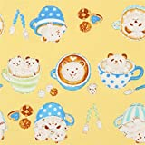 Kokka Gelbes Oxfordgewebe mit Pandas Bären Kaffeetassen