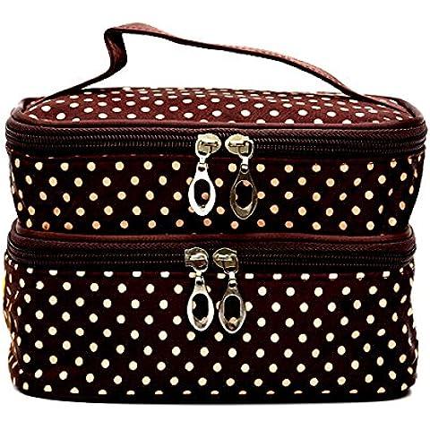 NYKKOLA multifuncional bolsa de cosméticos organizador de aseo de portabletravel de doble capa funda de mano con doble cremallera, café,