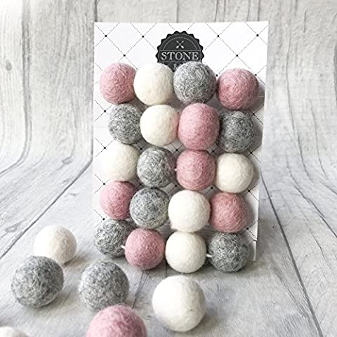 Felt Ball Pom Garland from Stone and Co in Dusty Pink and Natural Grey