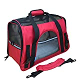 Hundetragetasche Katzentragetasche Haustiertasche Tragetasche Transporttasche Hunde Katzen Tragbar Transportbox Rot L