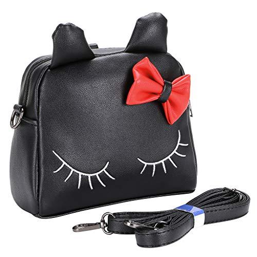 Schwarze Geldbörse Tasche (BTSKY PU kleine Mädchen Crossbody Umhängetasche - süße Umhängetasche Geldbörsen Tasche Snack Bag Rucksack für Kleinkind Kinder, beste Geschenk für kleine Mädchen (schwarze Katze))