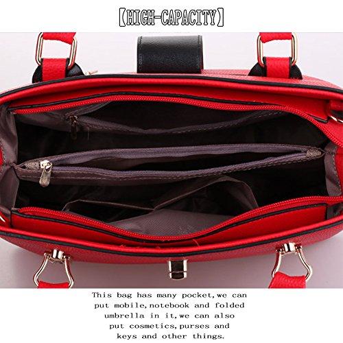 (G-AVERIL) shopping con zip lavandalarg 36cm alt 30 cm alt manico 20 cm rosso