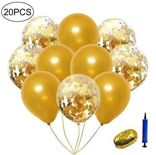 InnoBase Palloncini in Lattice Trasparenti Latex Confetti Balloons  Palloncini Coriandoli Champagne con Oro Nastro da Curling 8aa1ad03e988
