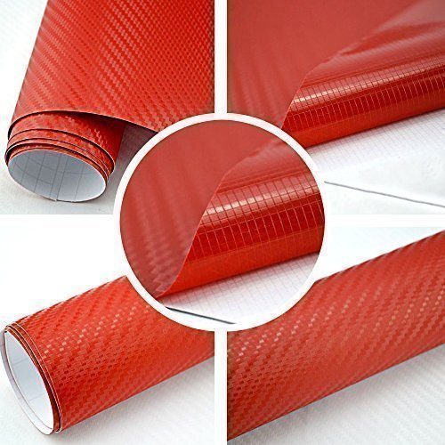 Autofolie 3D Carbon Rot 152cm breit BLASENFREI mit Luftkanäle 3D Flex Folie Auto