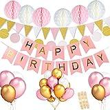 Geburtstagsdeko Rosa Weiss Gold Set für Teenager jungs :Happy Birthday Buchstaben Banner, 6 Wabenbälle,30Punkte Garland,15 Wimpel Girlanden, 36 ballons für Mädchen 1 Jahr Geburtstag Party Dekoration
