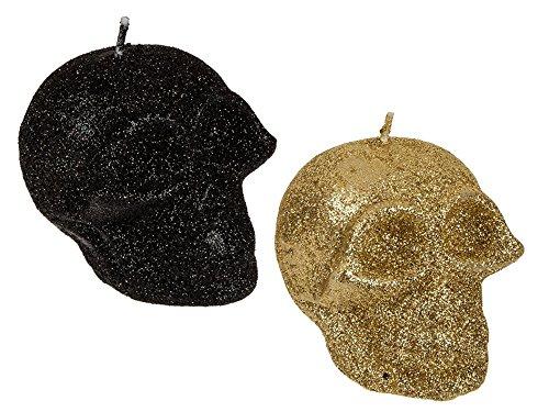 OOTB Calavera vela con glitter, aprox. 5,5x 7,5cm