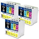 Jagute Druckerpatronen Ersatz für Epson 27 27XL Patronen für Epson WorkForce WF-3620DWF WF-3640DTWF WF-7710DWF WF-7210DTW WF-7610DWF WF-7620DTWF WF-7110DTW WF-7715DWF 3 Schwarz/3 Cyan/3 Magenta/3 Gelb
