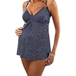 KPILP Femme Maillots de Bain Sexy Bikini Femme La Mode Point de Vague Impression en Vrac Vêtements de Maternité Confortable Nylon Maillots de Bain 2 Pièces(Bleu,FR-34/CN-S)