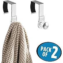 mDesign Juego de 2 percheros para puerta y tabiques – Colgadores de ropa para abrigos, chaquetas, bolsos y más – Colgadores para ropa ideales para tabiques divisorios fijos o móviles – plateado