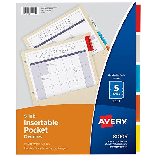(Avery einführb Trennblätter mit Fächern, Manila Papier, 5Multicolor Tabs,, 1Set (81009))