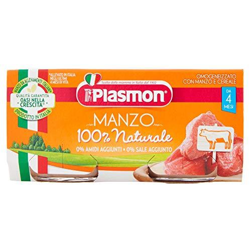 Plasmon alimento per l'infanzia omogeneizzato con manzo e cereale -confezione da 2 x 80 g