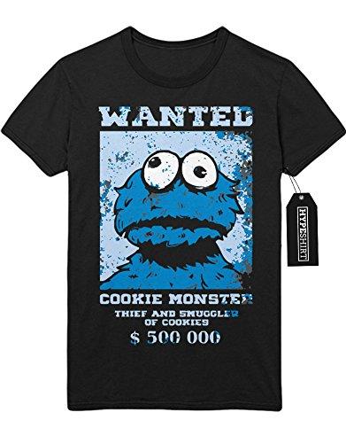 """T-Shirt Sesame Street """"Cookie Monster WANTED"""" C112281 Schwarz"""