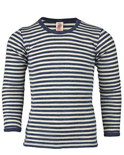 Kinder Unterhemd langarm, Wolle maschinenw., Engel Natur, 2 Farben, Gr. 92 - 176 (116, Blau melange/Natur) - Langarm Unterwäsche