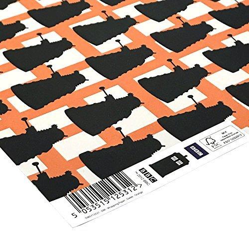 bbc-officiel-doctor-who-cadeau-papier-emballage-5-x-feuilles-dalek-imprime