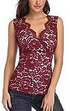 MISS MOLY Tops Damen Sexy V-Ausschnitt Kreuz Tank Top mit Spitze Ärmellose Bluse T-Shirt Rot/Grau Medium