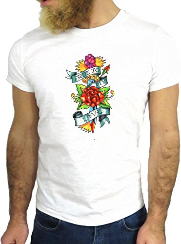 T-SHIRT JODE GGG24 Z3701 TRUE TO MY LOVE ROSE FLOWERS FASHION ENJOY COOL NICE WOW BIANCA - WHITE