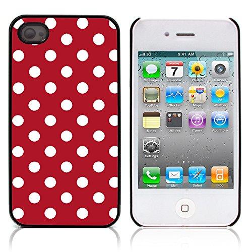 Graphic4You Polka Punkt Dots Muster Design Harte Hülle Case Tasche Schutzhülle für Apple iPhone 4 und 4S (Rot) Rot