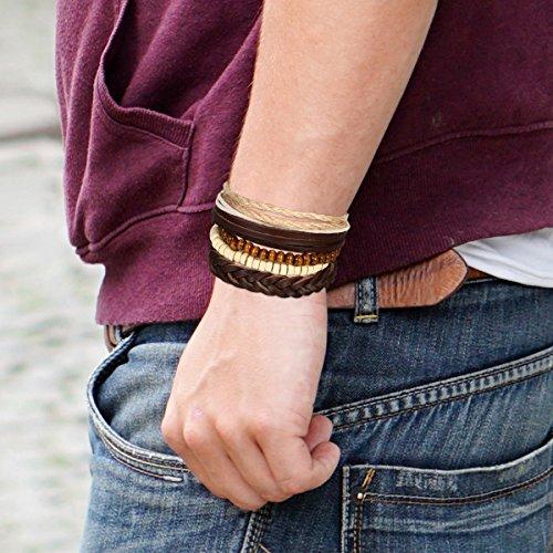 5 Stück Herren Armband Leder Armband Armbänder Schmuck Set braun weiss , Vintage Breite Geflochten Lederarmband Surferarmband Armreifen , verstellbar - 4