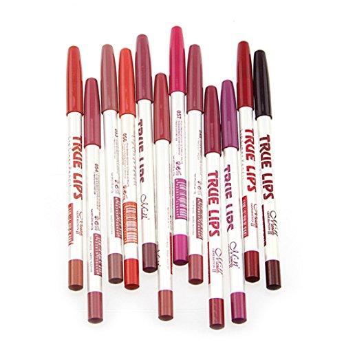 CINEEN 12pcs Etanche Lip Liner Multicolore Professionnel Imperméable Crayons A Levre Waterproof Lipliner Crayon Maquillage