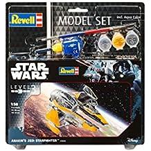 Revell Maqueta de Star Wars Anakin 's Jedi Star Fighter en escala 1: 58, nivel 3, réplica exacta con muchos detalles, Model Juego con base accesorios, fácil pegar y para pintarlas, 63606