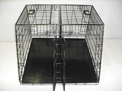 "Car Crate Large Double 36""x36"" - 3 door sloped with divider"