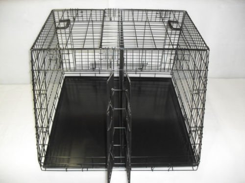 doghealth Large Car Crate Large Double 36″x 36″ – 3 door sloped with divider