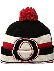 """Ottawa Senators CCM NHL """"Split Logo"""" Cuffed Knit Hat Chapeau with Pom"""
