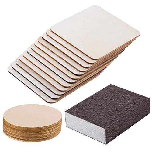 Schleifschwamm mit 10 Stück rund unbehandeltes Rohholz und 20 Stück quadratische Scheiben unlackierte Holz-Ausschnitte für Pyrographie, Malen, Schreiben, Getränke, DIY Handwerk