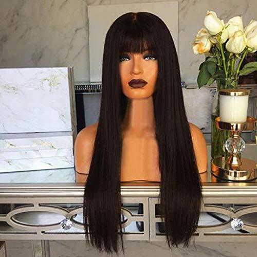Perruques Pleines Cheveux raides Naturels Femmes Mode Synthétique Longue Noir 65cm (25.5 pouces) Pince naturelle wig