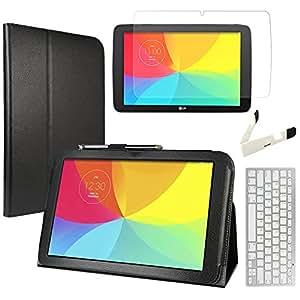 EveCase Combinaison de 4 pièces pour LG G Pad 10.1 V700 V700n V710: Étui de PU Cuir Synthétique Noir avec Soutien intégré + Protecteur d'écran + Clavier Bluetooth sin fil + Mini-Support pliant