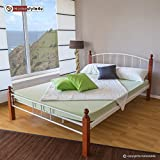 Homestyle4u Metallbett 180 x 200 Bettgestell Doppelbett Bettrahmen + Lattenrost 915 weiß