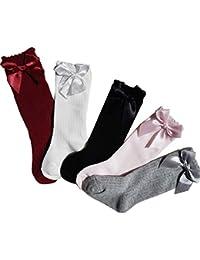 Myudi - Lot De 5 pares - Precios de rodilla calcetines altos - para niña