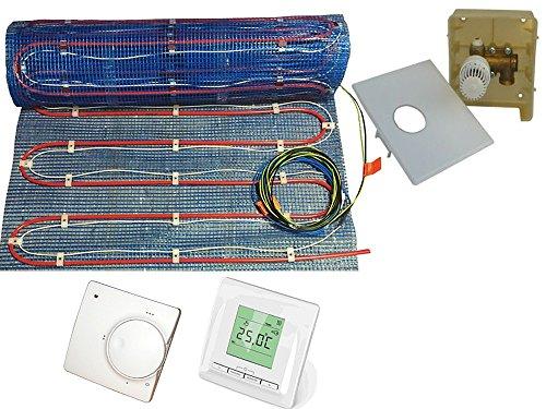 Fußbodenheizung '2systems' als kombinierte Warmwasser- & Elektroheizung von 2,5 bis 10m² | 2 Temperatur Regler zur Wahl | inklusive Temperaturfühlerleitung , Fläche:2.5 qm, Regler:RTL Box und Digital Regler 520