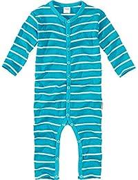 wellyou, Schlafanzug, Pyjama für Jungen und Mädchen, Einteiler langarm, Baby Kinder, türkis weiß gestreift, geringelt, Feinripp 100% Baumwolle, Größe 56-134