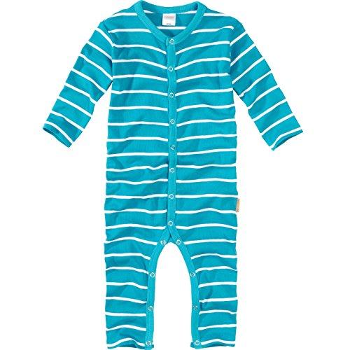 wellyou, Schlafanzug, Pyjama  Jungen und Maedchen, Einteiler langarm, Baby Kinder, tuerkis weiss gestreift, geringelt, Feinripp 100% Baumwolle, Gr 116-122