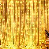 LED Lichtervorhang, VegaHome 300 LED Lichterkettenvorhang 3m*3m 8 Modi IP44 Wasserfest Lichterkette Deko für Weihnachten Innen Außen Garten...