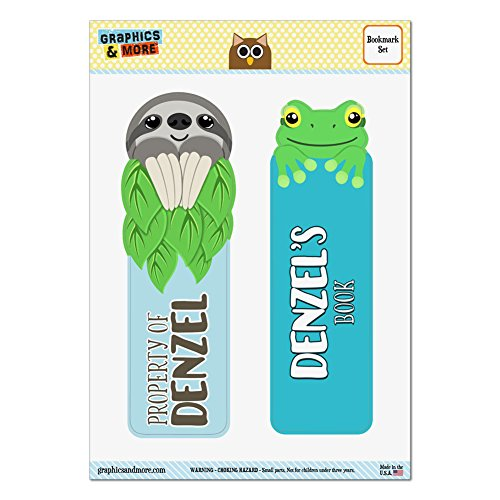 set-of-2-glossy-laminated-sloth-and-frog-bookmarks-names-male-dav-di-denzel