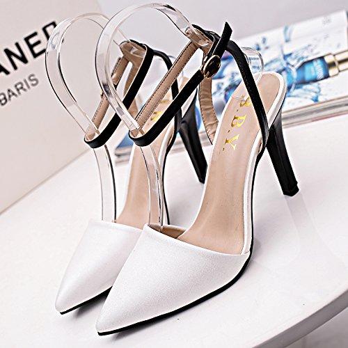 Lgk & fa estate sandali da donna a fine con stampa sandali Baotou sandali Marea all-match Hollow Stripe White
