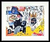 Jean-Michel Basquiat Poster Kunstdruck Bild Untitled Tyrany 1982 im Alu Rahmen schwarz 46x56cm - Germanposters