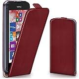 OneFlow Tasche für Nokia Lumia 530 Hülle Cover mit Magnet | Flip Case Etui Handyhülle zum Aufklappen | Handytasche Handy Schutz Bumper Schutzhülle mit Schale in Dunkelrot