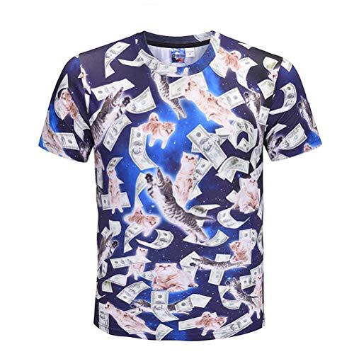 Blue Jugend Kostüm Mann - BESTOYARD Coole T-Shirt 3D Katze Druck Kurzarm Kreative Sommer Tees Lose Shirt für Männer Jugend (Blau, größe XXL)