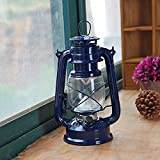 GFEI Artesania de metal _led retro lámpara de queroseno / portable Outdoor camping LAMP / metal decoracion de vidrio,Azul marino